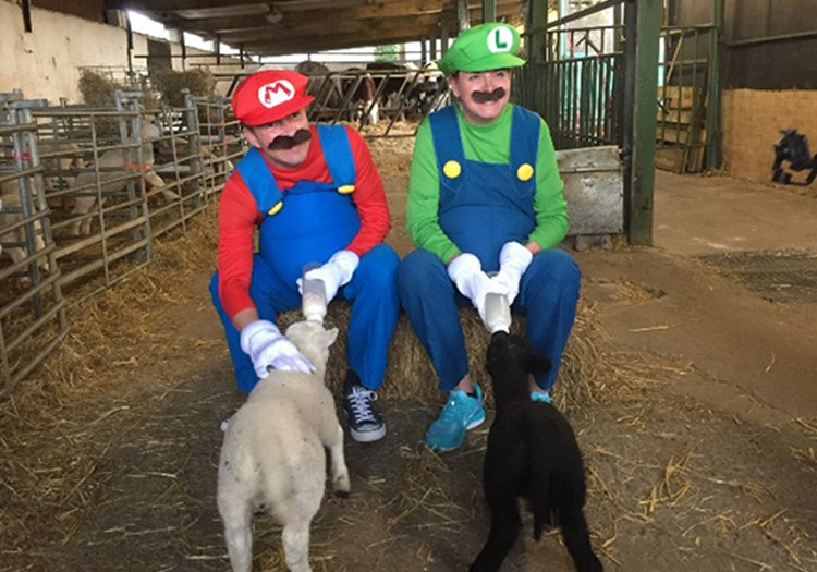 Steve and Karen Dressed as Mario and Luigi